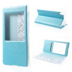 View Window Cross Texture Leather Case for Sony Xperia XA1 Ultra - Baby Blue