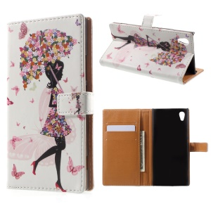 Pattern Printing Leather Wallet Case for Sony Xperia XA1 - Flowered Girl Holding Umbrella