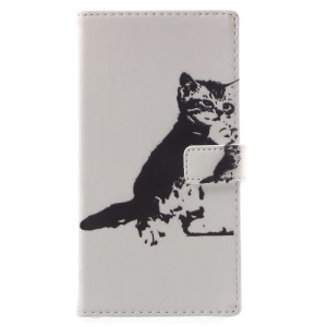 Pattern Printing Leather Wallet Case with Stand for Sony Xperia XA1 - Black and White Cat