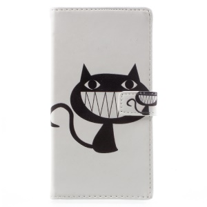 Pattern Printing Magnetic Leather Stand Cover for Sony Xperia XA1 - Black Cat