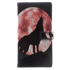Pattern Printing PU Leather Wallet Case for Sony Xperia XA1 - Wolf Howling at the Moon