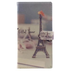 Pattern Printing Leather Wallet Case Accessory for Sony Xperia XA1 - Eiffel Tower and Mustache