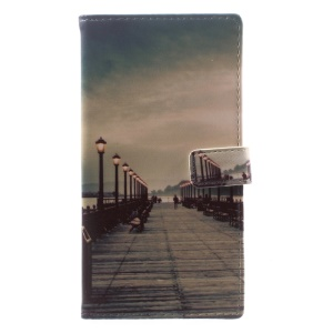 Pattern Printing Magnetic Leather Protective Case for Sony Xperia XA1 - Dock at Sunset