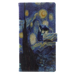 Pattern Printing Leather Wallet Cover Case for Sony Xperia XA1 - Oil Painting