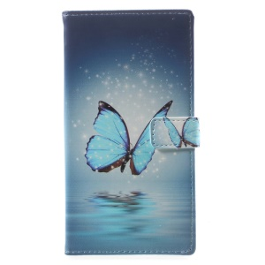 Pattern Printing Leather Wallet Cover for Sony Xperia XA1 - Blue Butterfly