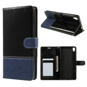 Contrast Color PU Leather Wallet Stand Mobile Casing for Sony Xperia XA1 Ultra - Black and Blue