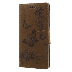 Imprinted Butterfly Flowers Wallet Leather Phone Cover Shell with Lanyard for Sony Xperia XA1 Ultra - Brown