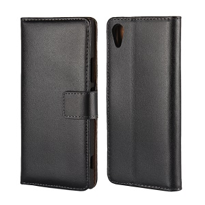 Split Leather Wallet Stand Case Accessory for Sony Xperia XA1 - Black