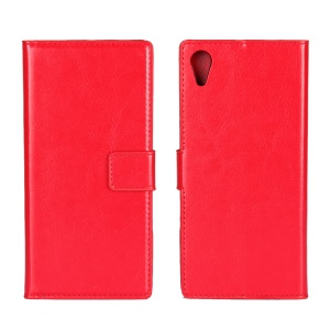 Crazy Horse Wallet Stand Leather Flip Case for Sony Xperia XA1 - Red