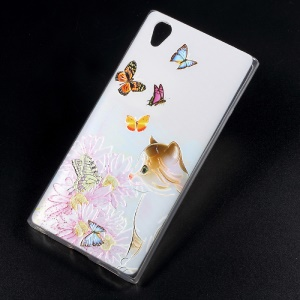Embossing Patterned TPU Mobile Phone Back Case for Sony Xperia L1 - Butterflies and Cat