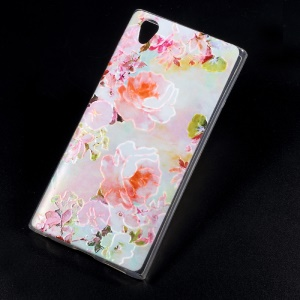 Embossing Patterned TPU Back Case Shell for Sony Xperia L1 - Blooming Flowers