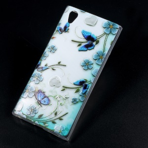 Embossed TPU Mobile Phone Cover for Sony Xperia L1 - Butterflies and Flowers
