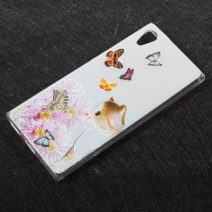 Embossing Patterned TPU Back Case Cover for Sony Xperia XA1 - Butterflies and Cat