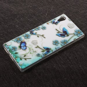 Embossed Pattern Soft TPU Protective Back Casing for Sony Xperia XA1 -  Butterflies and Flowers