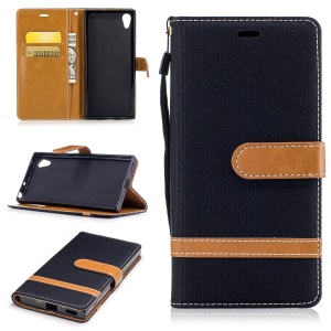 Jean Cloth Leather Card Holder Mobile Protective Case for Sony Xperia XA1 - Black