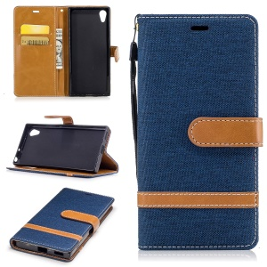 Two-tone Jean Cloth Leather Wallet Stand Case for Sony Xperia XA1 - Dark Blue