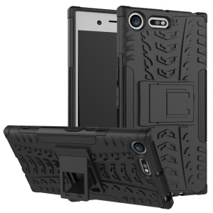 Anti-slip PC + TPU Hybrid Phone Case with Kickstand for Sony Xperia XZ Premium - Black