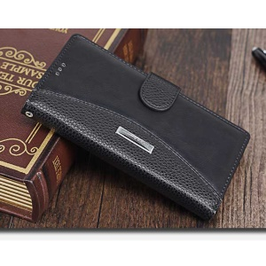 Splicing Wallet Leather Stand Case for Sony Xperia XZ Premium - Black