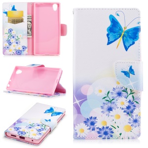Pattern Printing Magnetic Leather Wallet Phone Casing with Stand for Sony Xperia E6 / L1 - Purple flowers, butterfly and daisy