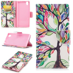 Pattern Printing PU Leather Wallet Phone Casing with Stand for Sony Xperia E6 / L1 - Tree with colorful leaves