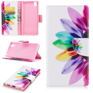 Pattern Printing Magnetic Leather Wallet Stand Phone Casing for Sony Xperia E6 / L1 - Multi-color sunflower