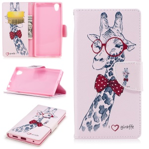 Pattern Printing Magnetic Leather Wallet Protective Phone Casing with Stand for Sony Xperia E6 / L1 - Giraffi