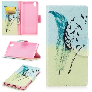 Pattern Printing Magnetic Leather Wallet Mobile Phone Casing with Stand for Sony Xperia E6 / L1 - Feather and wild goose