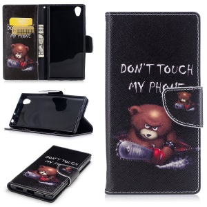 Pattern Printing PU Leather Wallet Phone Shell with Stand for Sony Xperia E6 / L1 - Bear