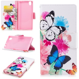 Pattern Printing Leather Wallet Phone Casing with Stand for Sony Xperia E6 / L1 - Butterfly and sunflower