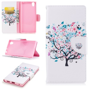 Pattern Printing Magnetic Leather Wallet Cell Phone Cover with Stand for Sony Xperia E6 / L1 - Butterfly on tree with blossoming flowers