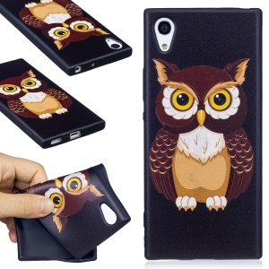 Embossed Pattern Matte TPU Soft Protection Cell Phone Cover for Sony Xperia XA1 - Owl