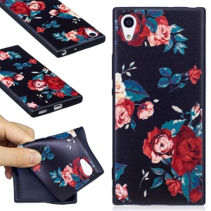 Embossment Pattern Matte TPU Mobile Casing for Sony Xperia XA1 - Roses