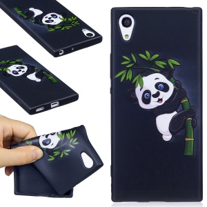 Embossment Pattern Matte TPU Mobile Phone Case Accessory for Sony Xperia XA1 - Panda and Bamboo