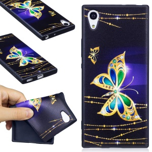 For Sony Xperia XA1 Embossing Pattern Matte TPU Protective Cover Case - Beautiful Butterfly