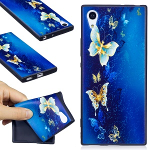 For Sony Xperia XA1 Embossed Pattern Matte TPU Soft Case Mobile Phone Accessory - Blue Butterflies