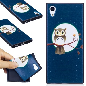 For Sony Xperia XA1 Embossment Pattern Matte TPU Phone Shell - Moon and Owl