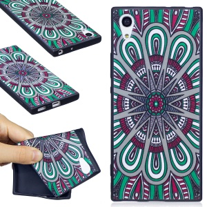 For Sony Xperia XA1 Embossing Pattern Matte TPU Case Shell - Abstract Floral Pattern