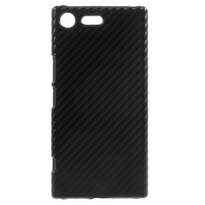 For Sony Xperia XZ Premium Carbon Fiber PU Leather Coated Hard Case - Black