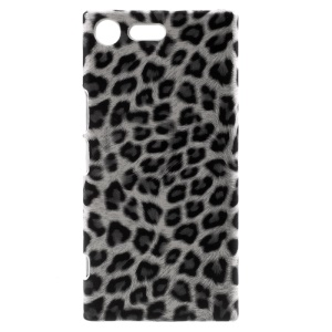 For Sony Xperia XZ Premium PU Leather Skin Hard Plastic Back Phone Case - Leopard Pattern