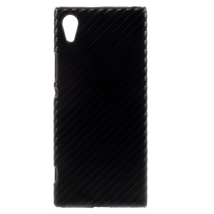 For Sony Xperia XA1 PU Leather Coated Hard PC Back Phone Shell Case - Black Carbon Fiber Pattern