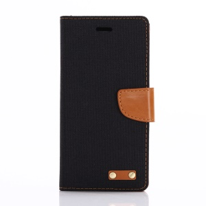 Jeans Cloth Wallet Leather Phone  Protective Cover for Sony Xperia XZs / XZ - Black