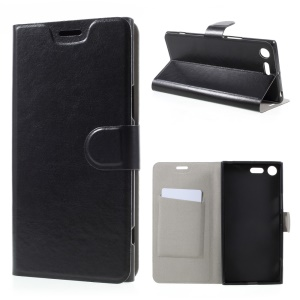 Crazy Horse Card Slot Stand Leather Case for Sony Xperia XZ Premium - Black