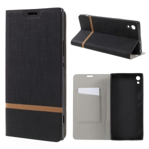 Cross Texture Leather Card Holder Cover Built-in Steel Sheet for Sony Xperia XA1 Ultra - Black