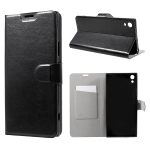 Crazy Horse Card Slot Stand Leather Case for Sony Xperia XA1 Ultra - Black