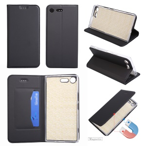 For Sony Xperia XZ Premium Ultra-thin Leather Mobile Phone Cover with Stand - Black