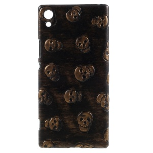 PU Leather Coated Hard PC Mobile Phone Case Shell for Sony Xperia XA1 Ultra - Skull / Brown