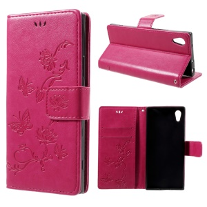 Imprint Butterfly Flowers Magnetic PU Wallet Stand Leather Cover for Sony Xperia XA1 - Rose
