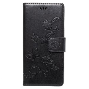 Imprint Butterfly Flowers Magnetic PU Wallet Stand Leather Case for Sony Xperia XA1 - Black