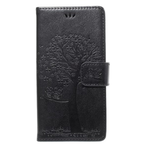 Imprint Tree Owl Wallet Leather Stand Phone Cover for Sony Xperia XZ/Xperia XZs - Black
