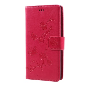 Impressum Borboleta Flor Magnetic Wallet PU Leather Stand Shell para Sony Xperia L1 - flecha